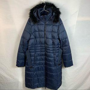 Long navy blue puffer coat with faux fur trim XL